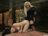 Long haired blonde tranny fucks a brunette with a hairy twat