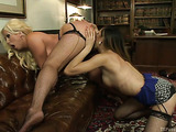 Curvy blonde MILF in fishnets enjoys a shemale meat pole