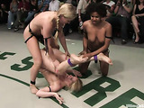 Two blondies and ebony girl fighting on the ring nude