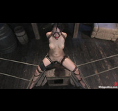 Brunette slut gets gagged and used by her bald mistress