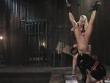 Three blonde sluts in prison having rough lesbo sex