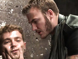 Two dicks enter one boy's mouth at once during domination scene