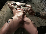 Bald dude gets tied up and banged in the basement