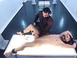 Two bearded gay dudes in leather having rough sex