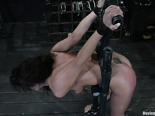 tied brunette gets toyed
