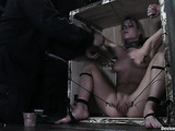 Blonde cutie in bondage gets a really painful treatment