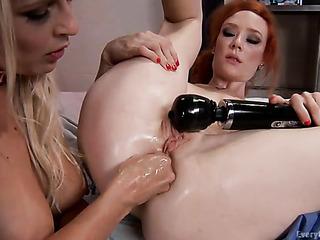 blonde nurse testing her