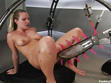 Blonde with a curvy body enjoys various fucking machines