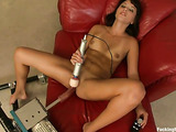 Brunette with a gaped asshole gets rammed by fucking machines