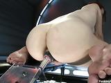 Redhead slut riding a sex toy with so much pleasure