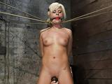Short haired blonde bimbo needs some freaky bondage sex fun