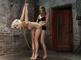 Teenage blondie in bondage gets used by two horny people
