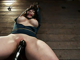 Tied up raven haired slut gets her pussy stimulated