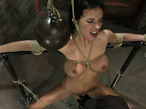 Dark haired mom with big boobies gets tied up by her master