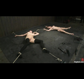 Two blonde sluts get tied up and used by a horny brunette