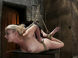 Adorable blonde girl in bondage wants some freaky stuff