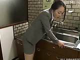 Girl meets boss and has some fun with him in the entrance hall
