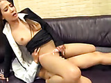 The unsatisfied lady wants to have sex with her male colleague, and she arranges a kinky sex show in front of his eyes