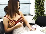 Skinny Asian chick has office sex with handsome guy