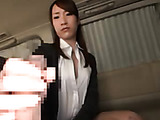 Charming and innocent looking Japanese office babe enjoys having oral sex in a car