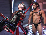 Hunk in a red suit gets nailed by her bearded partner