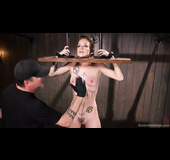 Ginger slut gets tied up, gagged and toyed so well