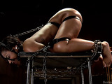 Ebony gal with a large ass gets tied up and toyed