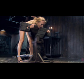 Blonde slut in leather gets tied up and punished