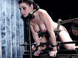 Raven haired pornstar gets tied up and toyed so hard