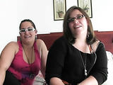 A pair of adventurous heavy girls get fat hairless pussies fingered and fucked