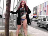 Extremely hot skinny girl with red hair flashes blue panties on the street