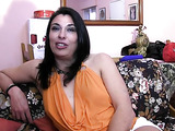 Horny all natural brunette gets fingered then fucked through her white panties