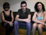 Two brunettes and a slender young man have a filthy amateur threesome