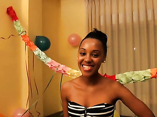 stunning ebony teen celebrates