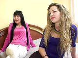 Two horny latinas experiment rubbing pussies before getting joined by guy for hot threesome