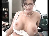 Hot woman in white dress punishes son by licking his dick