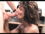 Husband fucks his brunette wife from behind in his office