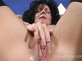 Brunette has interracial sex and receives a load of hot cum