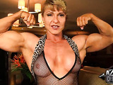 Sexy blonde with huge muscles loves to flex the cam and talk dirty