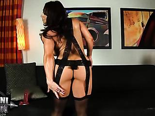 muscular babe scandalous lingerie