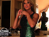 Emerald green dress and leopard print don't stop knockout from jerking off clit