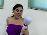 Young hooker in purple dress wants cum on her amazing boobs and to get fucked