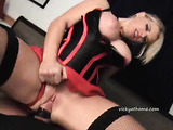 Big-boobed blond sex slave loves sucking fat cocks and swallowing hot cum
