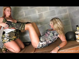 Drunk busty blond army chick gets her pussy eaten and fingered by big-titted girlfriend