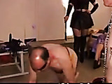 Domminatrix humiliates pervy guys and makes them drink her piss