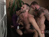 Business meeting becomes a butt banging bonanza for three dudes in suits.
