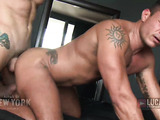 Gay dude in white undies drives his dick up a lover's ass.
