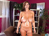 Incredibly shaped girl with slim body and big breasts smiles as she spreads her legs eager for something hard
