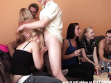 Redheads, brunettes and blondes having a super hot orgy