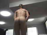 Handsome blonde boy shows his body and blows a dick